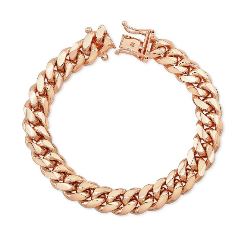 14k Rose Gold Solid Miami Cuban Link Bracelet
