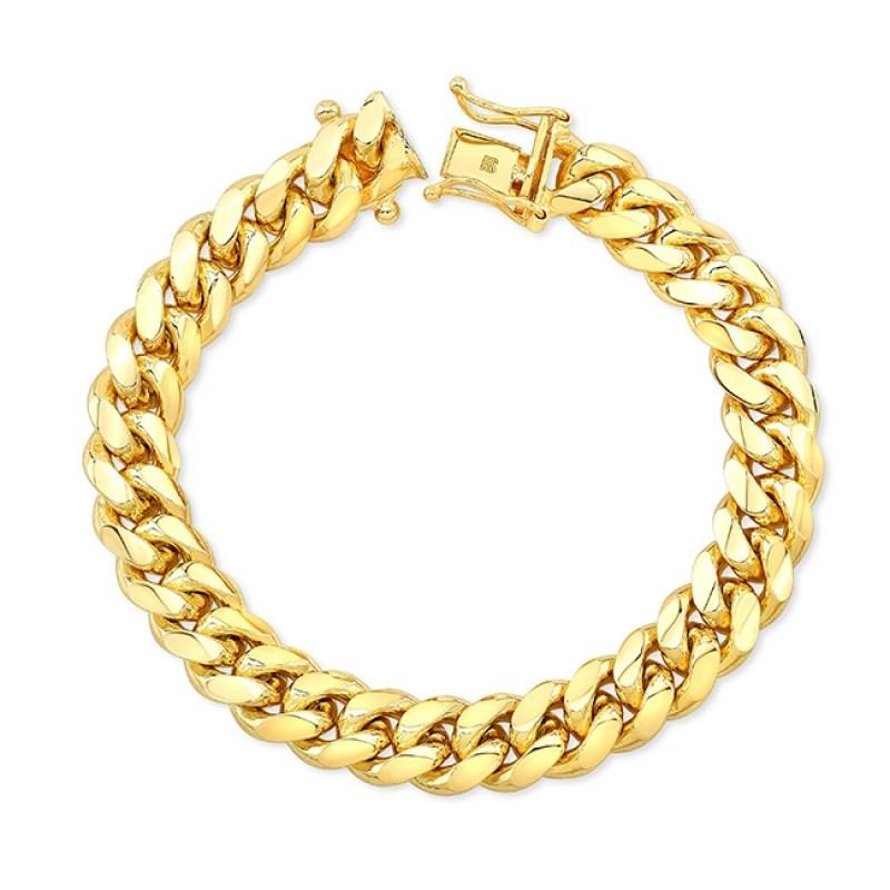 Men's 14k Yellow Gold Solid Miami Cuban Link Bracelet