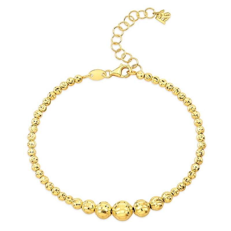 14k Yellow Gold Graduated Diamond Cut Bead Bracelet