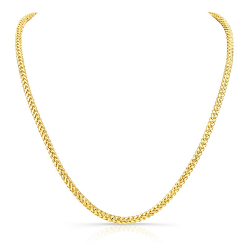 Men's 14k Yellow Gold Solid Franco Chain Necklace
