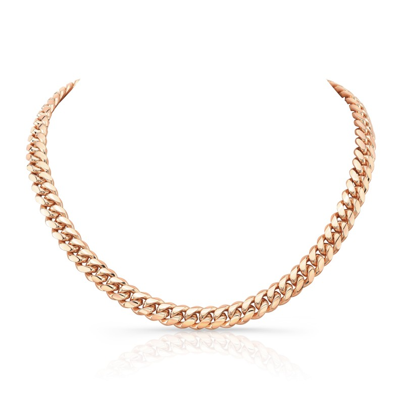 14k Rose Gold Solid Miami Cuban Link Necklace