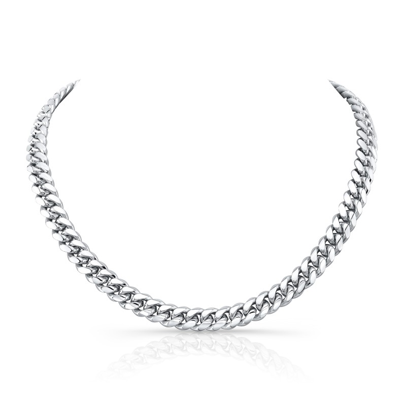14k White Gold Solid Miami Cuban Link Necklace