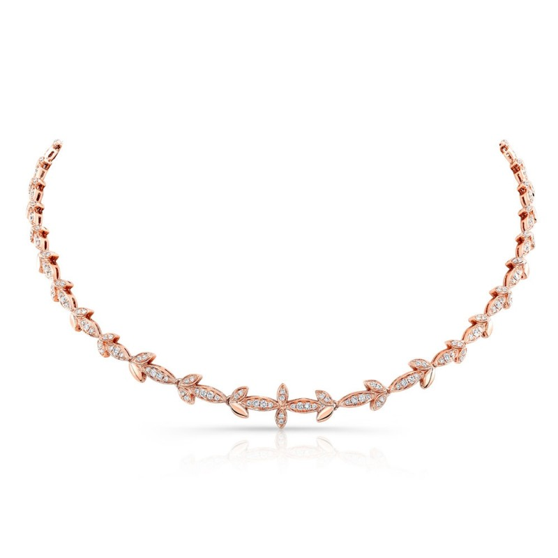 14k Rose Gold Diamond Leaf Necklace