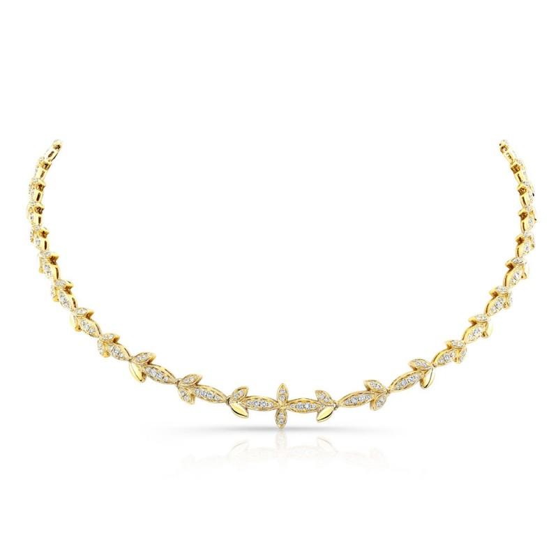 14k Yellow Gold Diamond Leaf Necklace