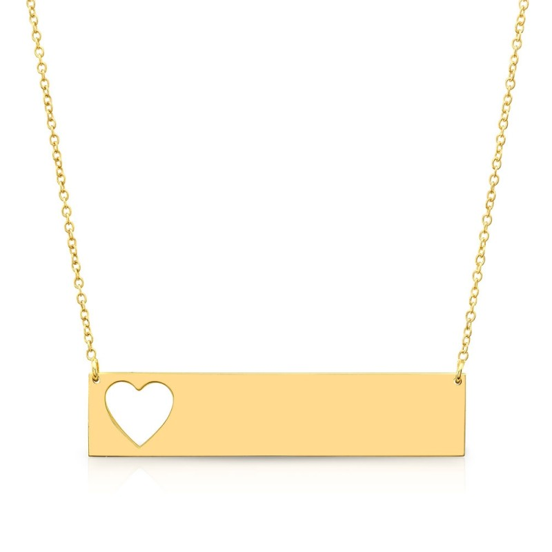 14k Yellow Gold Cut Out Heart Bar Nameplate Necklace