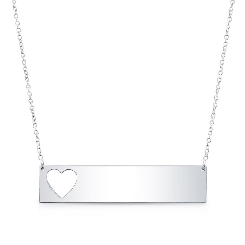 14k White Gold Cut Out Heart Bar Nameplate Necklace