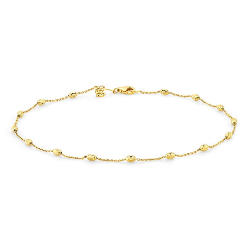 anklet link solid bracelet luck charm gold good figaro yellow product