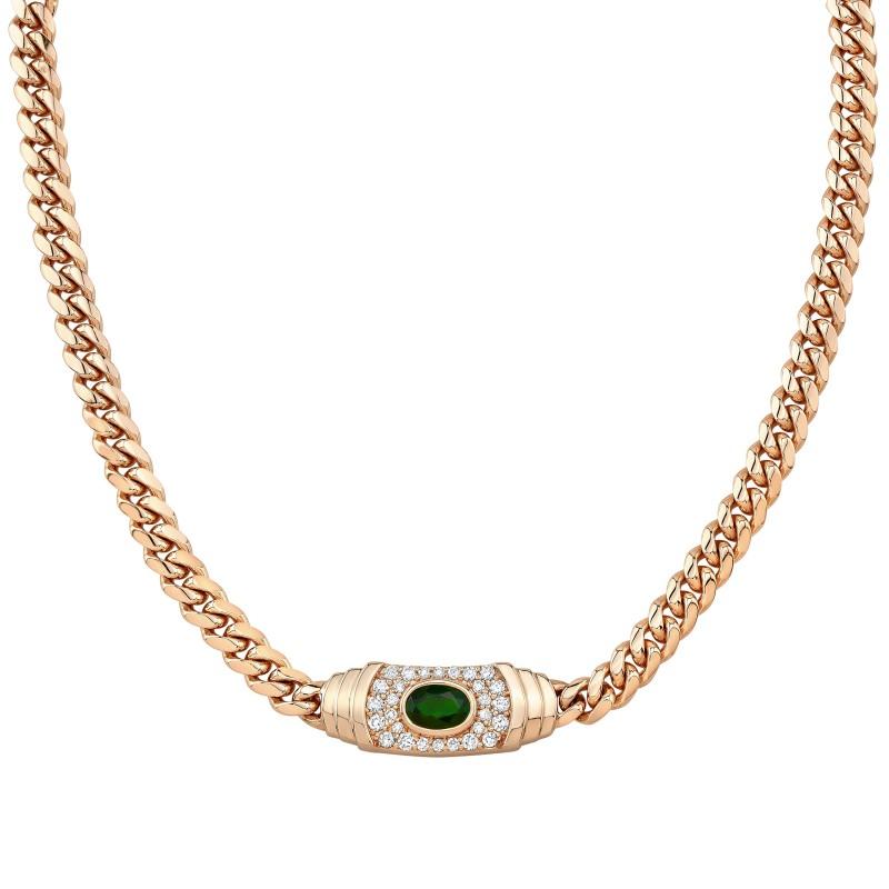 14k Rose Gold Diamond Green Tourmaline Miami Cuban Link Mini Necklace