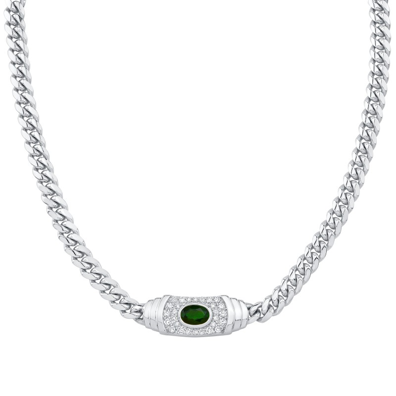 14k White Gold Diamond Green Tourmaline Miami Cuban Link Mini Necklace