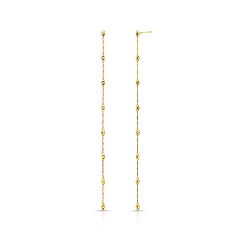 14k Yellow Gold Diamond Cut Beaded Drop Earrings