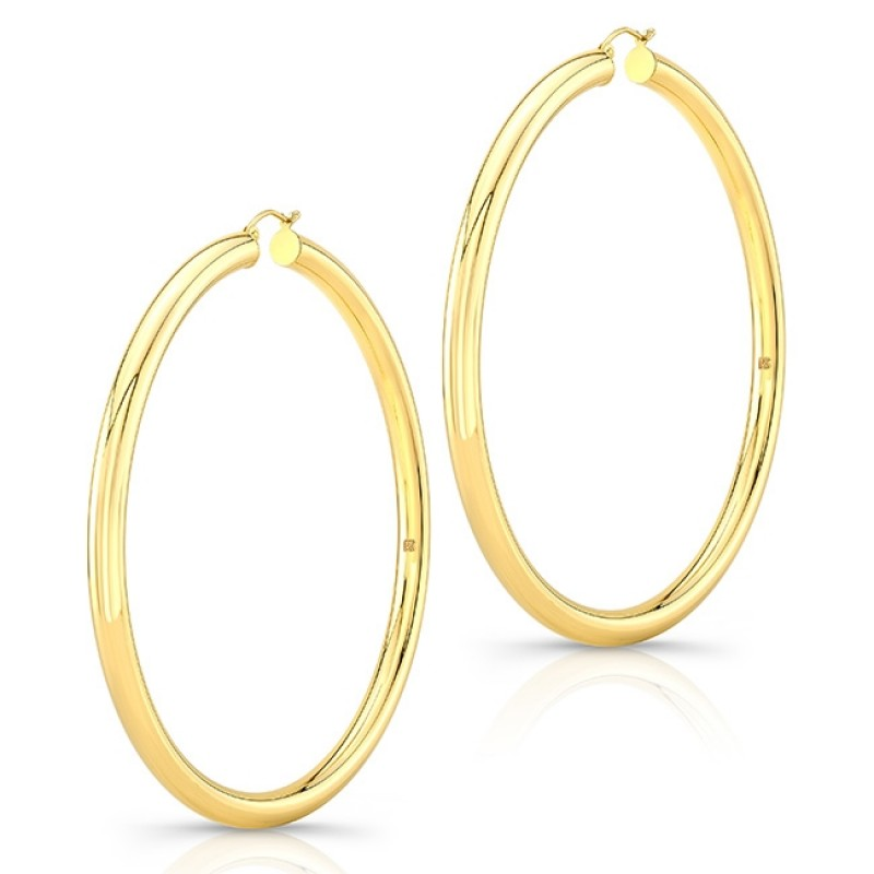 "14K Yellow Gold 3"" Tube Hoops"