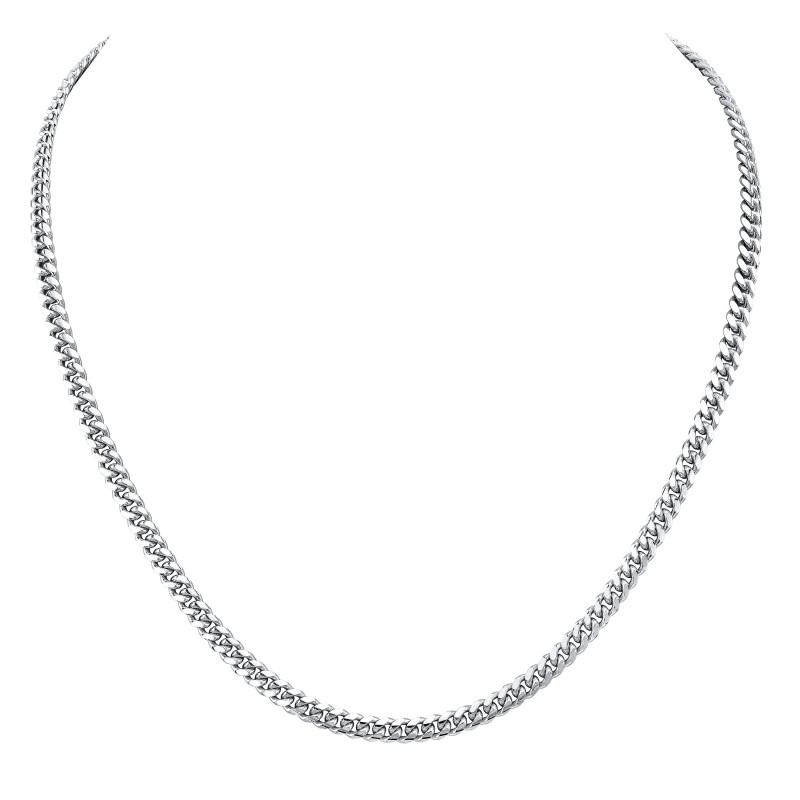 14k White Gold Miami Cuban Necklace