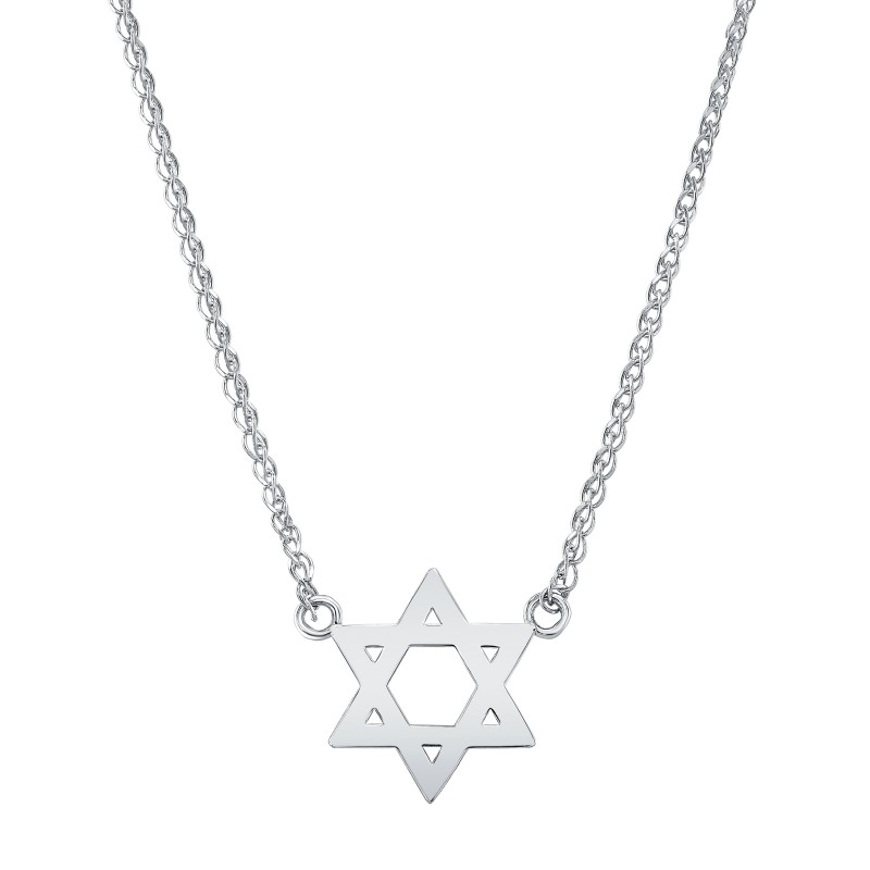14k White Gold Floating Star of David Necklace