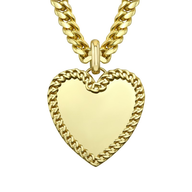 14k Yellow Gold Cuban Link Jumbo Heart Charm