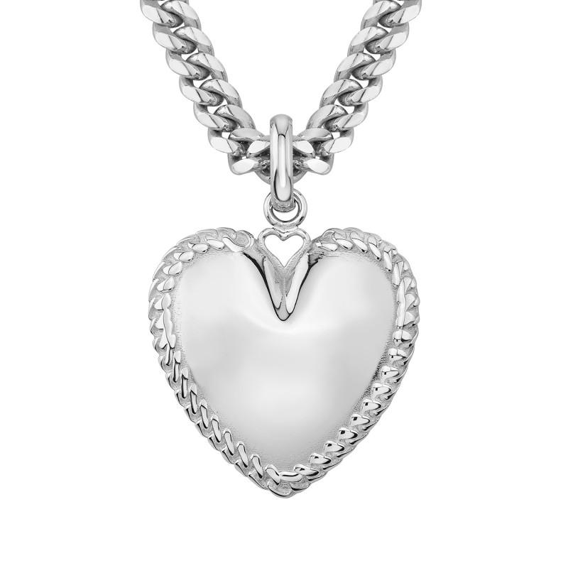 14k White Gold Cuban Link Jumbo Puffed Heart Charm