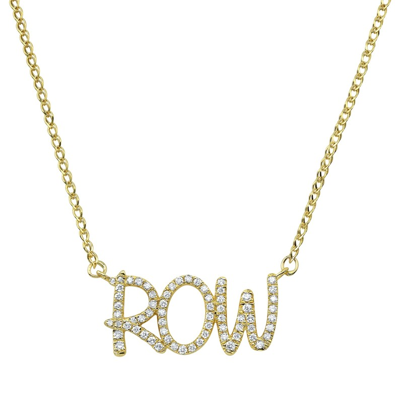14k Yellow Gold Diamond Scribble Name Necklace