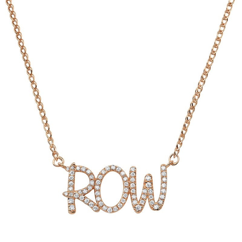 14k Rose Gold Diamond Scribble Name Necklace