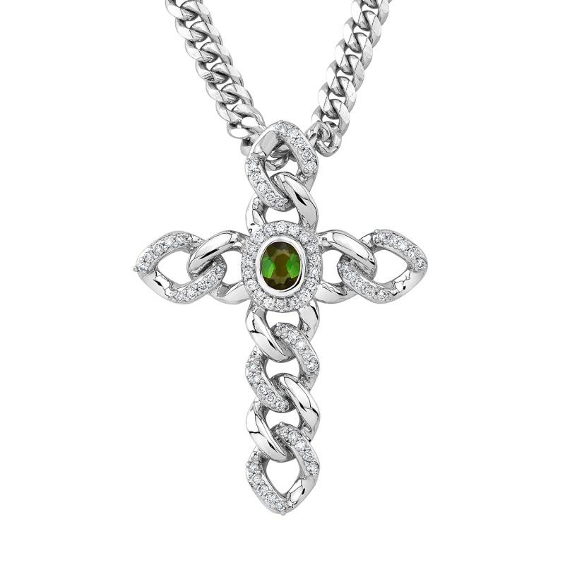 14k White Gold Diamond Gemstone Link Cross