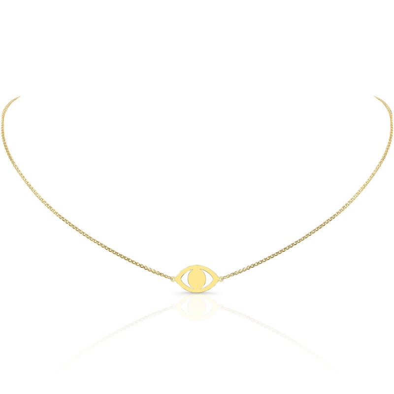 14k Yellow Gold Evil Eye Necklace