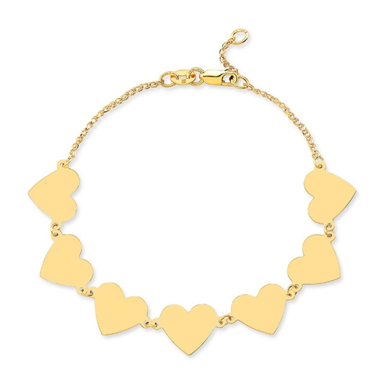 14k Yellow Gold 7 Floating Heart Bracelet
