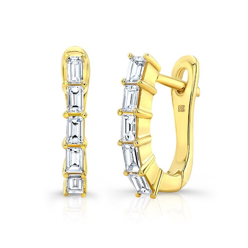 14k Yellow Gold Diamond Baguette Huggie Hoops