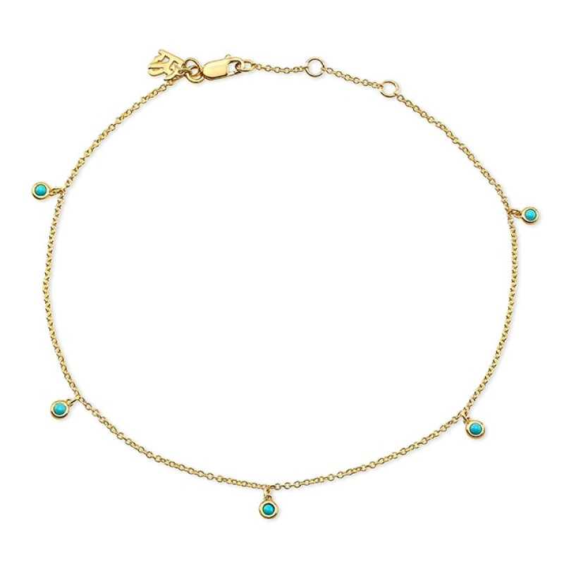 14k Yellow Gold 5 Bezel Turquoise Anklet