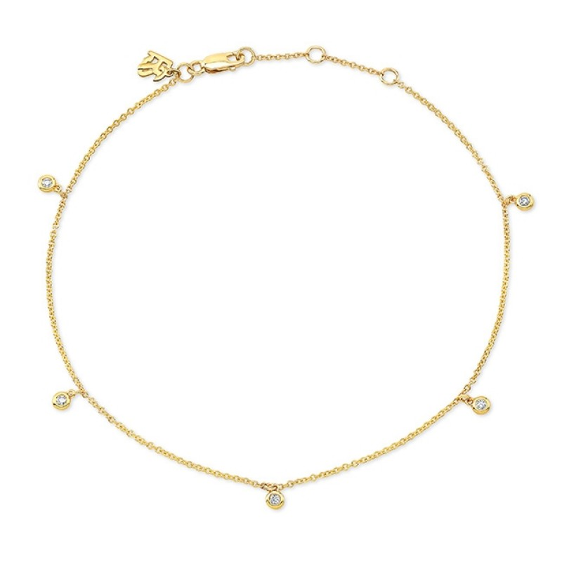 14k Yellow Gold 5 Bezel Diamond Anklet