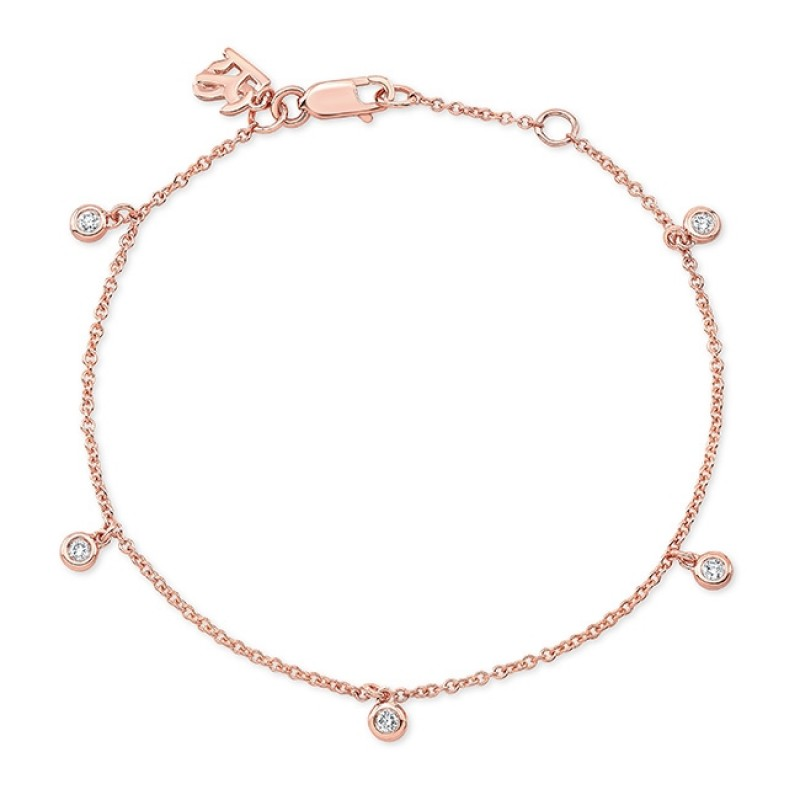 14k Rose Gold 5 Bezel Diamond Bracelet