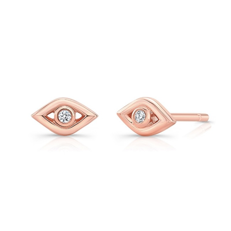 14k Rose Gold Diamond Mini Evil Eye Earrings