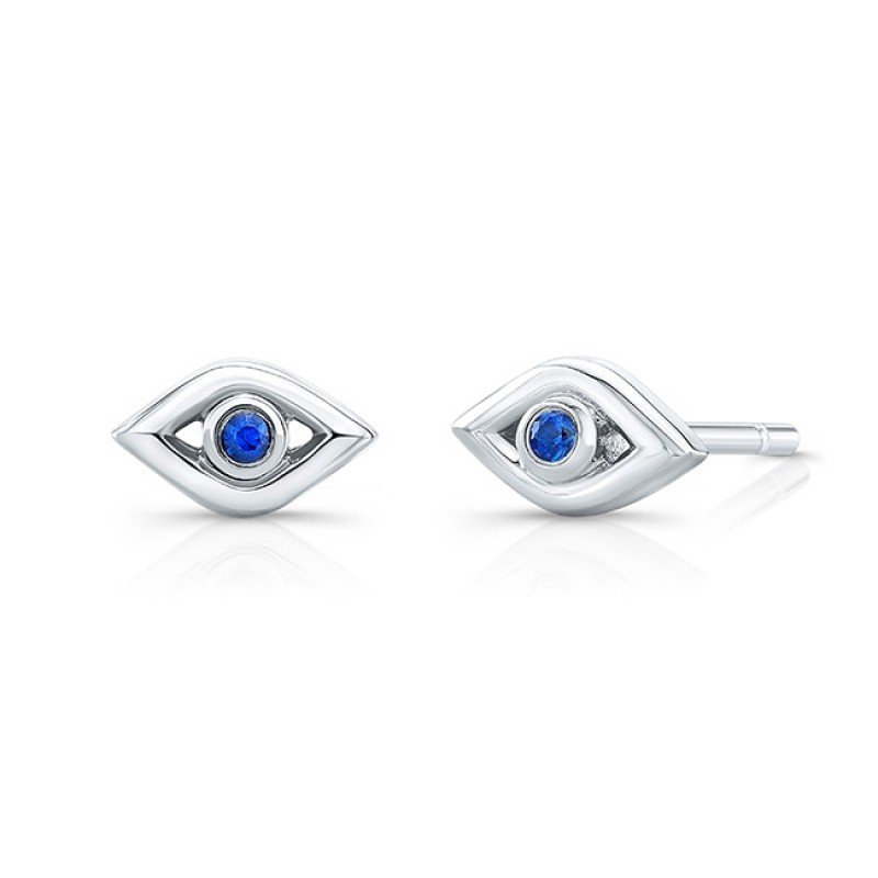 14k White Gold Sapphire Mini Evil Eye Earrings