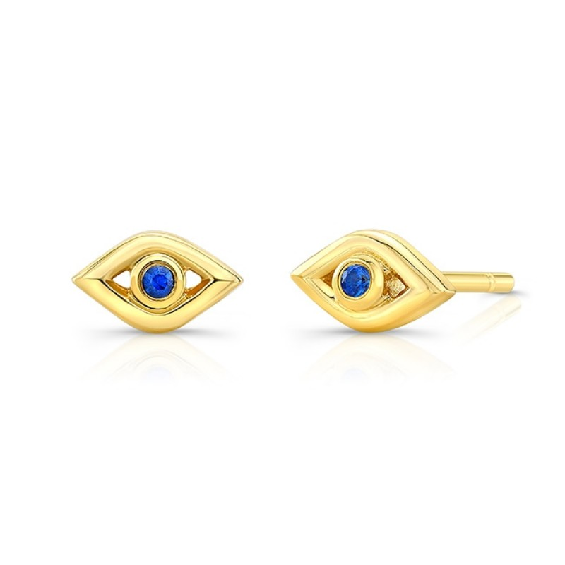 14k Yellow Gold Sapphire Mini Evil Eye Earrings