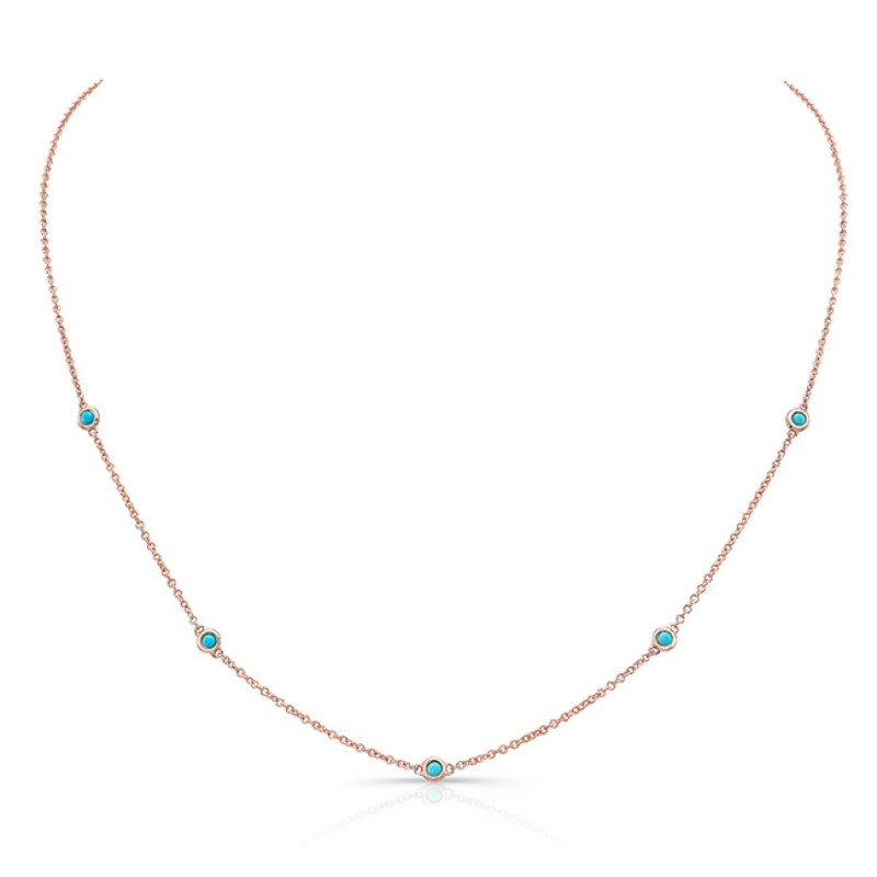 14k Rose Gold 5 Bezel Turquoise Station Necklace