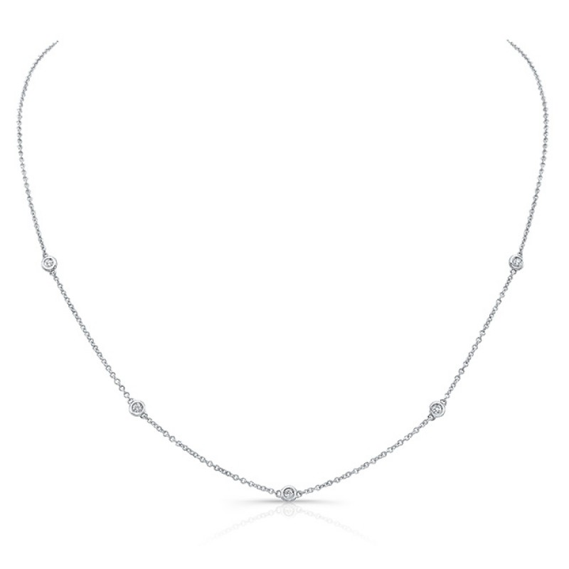 14k White Gold 5 Bezel Diamond Station Necklace