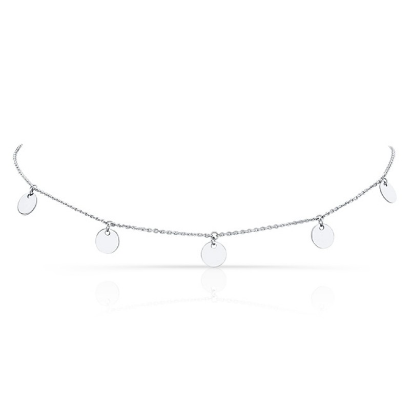 14k White Gold 5 Disc Adjustable Choker