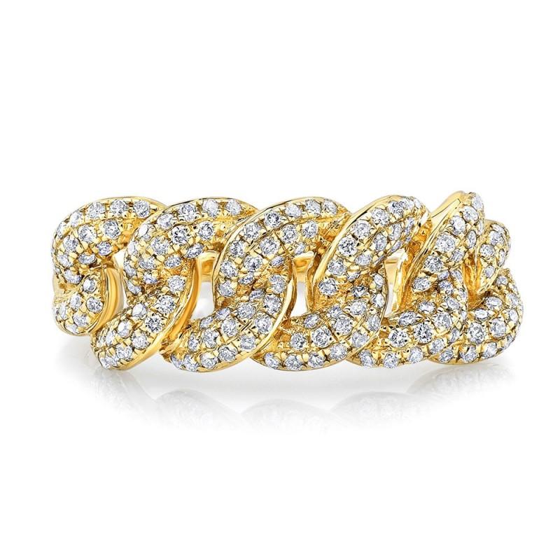 14k Yellow Gold Pave Diamond Cuban Link Ring