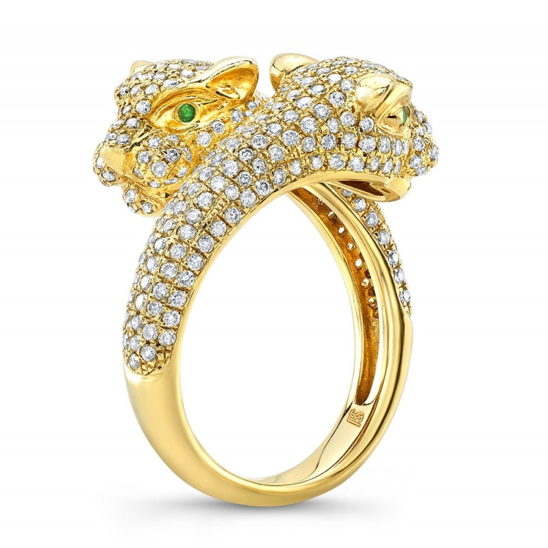 14k Yellow Gold Diamond Emerald Panther Ring