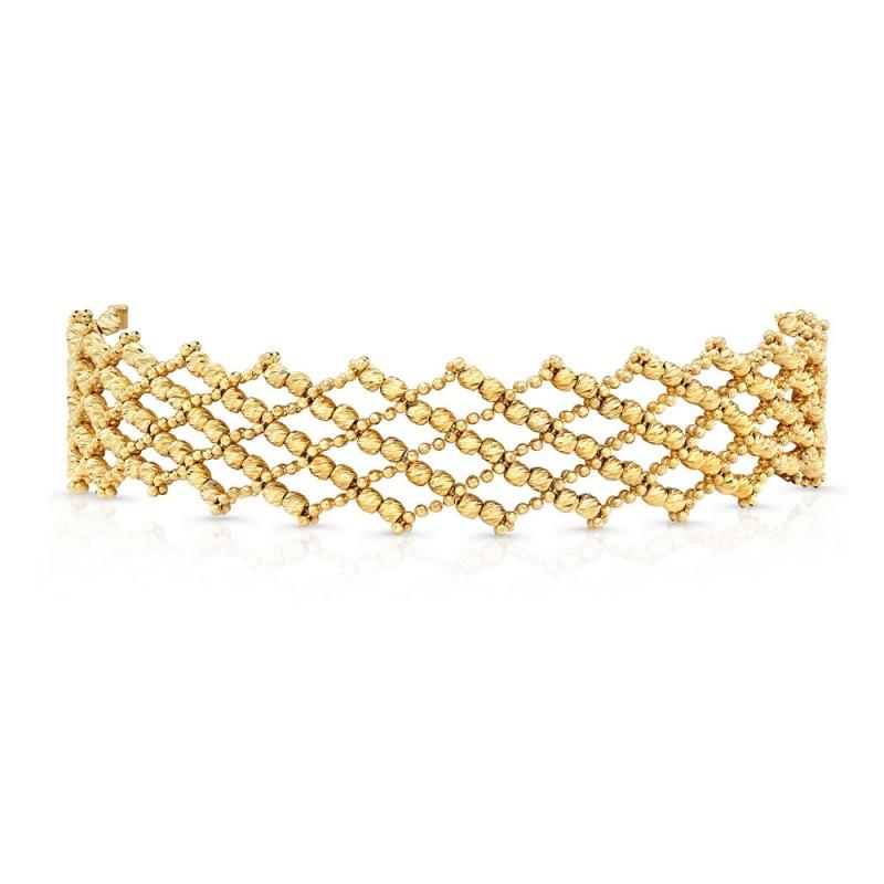 14k Yellow Gold Diamond Cut Crosshatch Choker