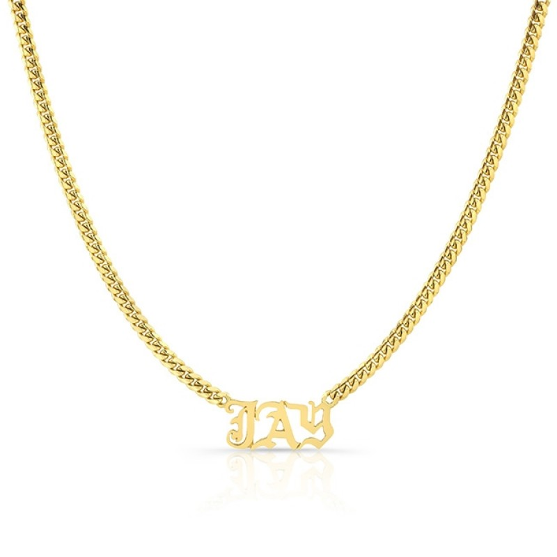 14k Yellow Gold Heavy Cuban Link Personalized Nameplate Necklace
