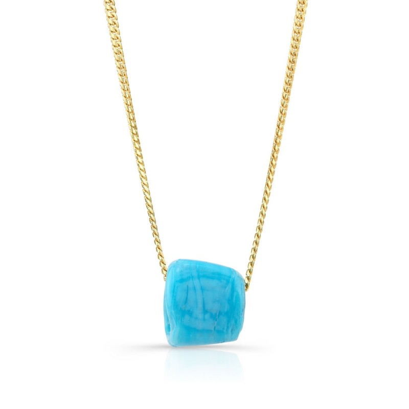 14k Yellow Gold Mini Miami Cuban Chain and Turquoise Protection Bead