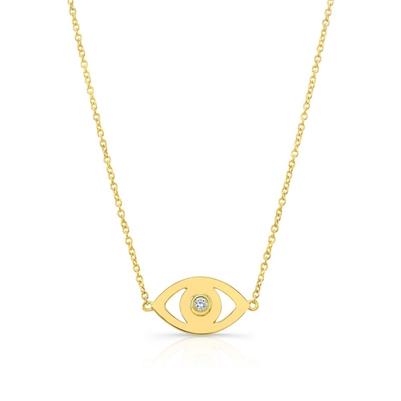 14k Yellow Gold Diamond Bezel Evil Eye Necklace