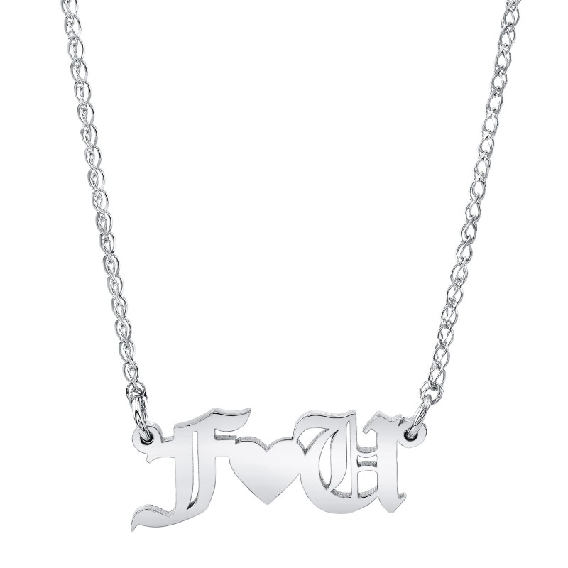 14k White Gold Personalized Old English Nameplate Necklace