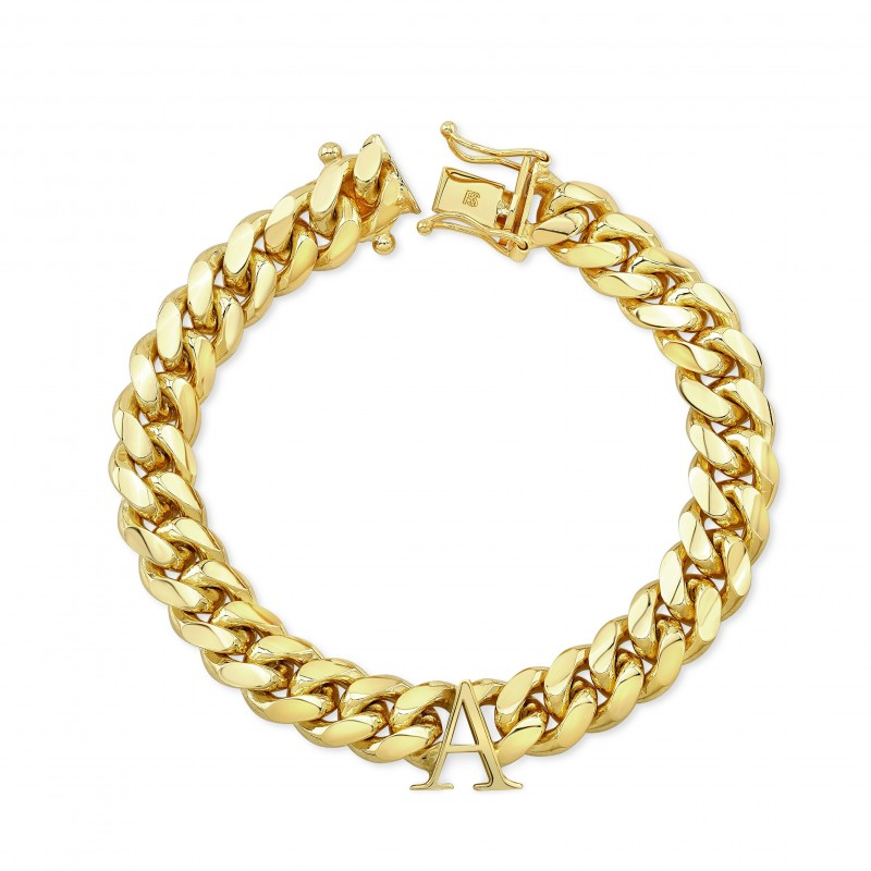 14k Yellow Gold Solid Miami Cuban Link Initial Bracelet