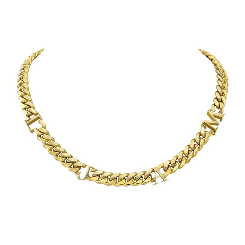 14k Yellow Gold Solid Miami Cuban Link Initial Necklace