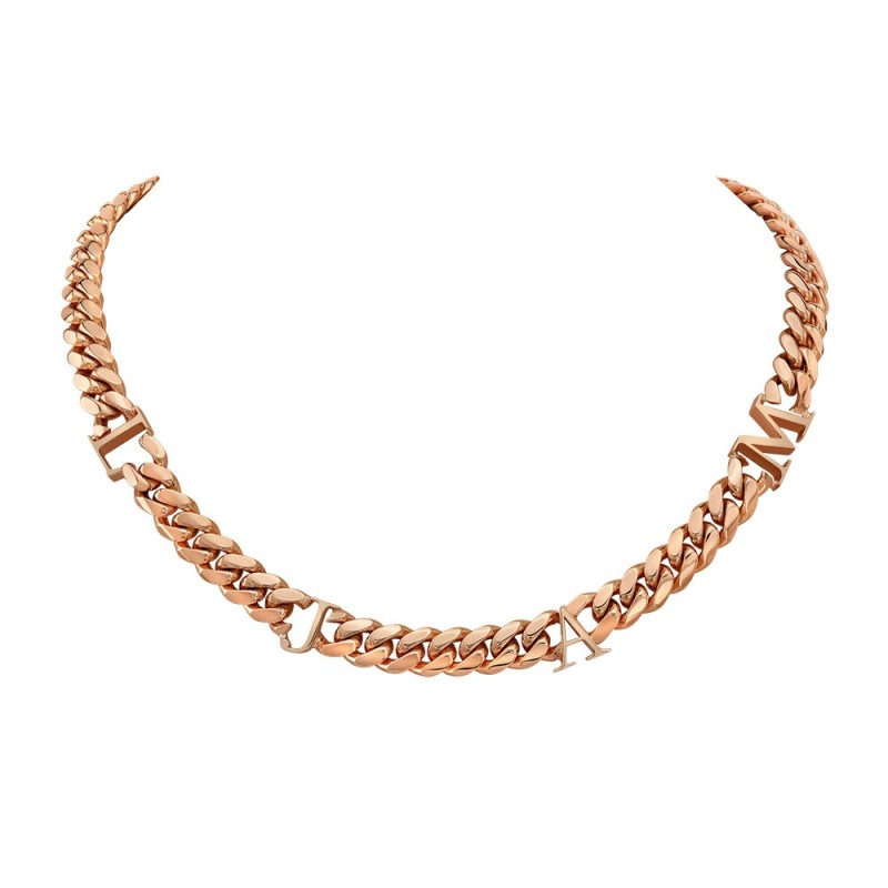 14k Rose Gold Solid Miami Cuban Link Initial Necklace