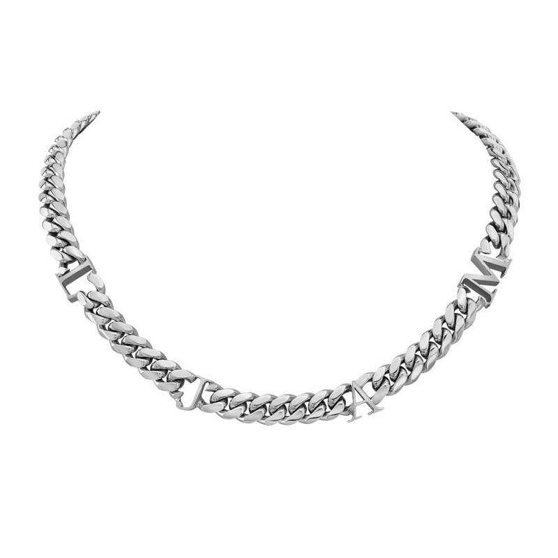 14k White Gold Solid Miami Cuban Link Initial Necklace