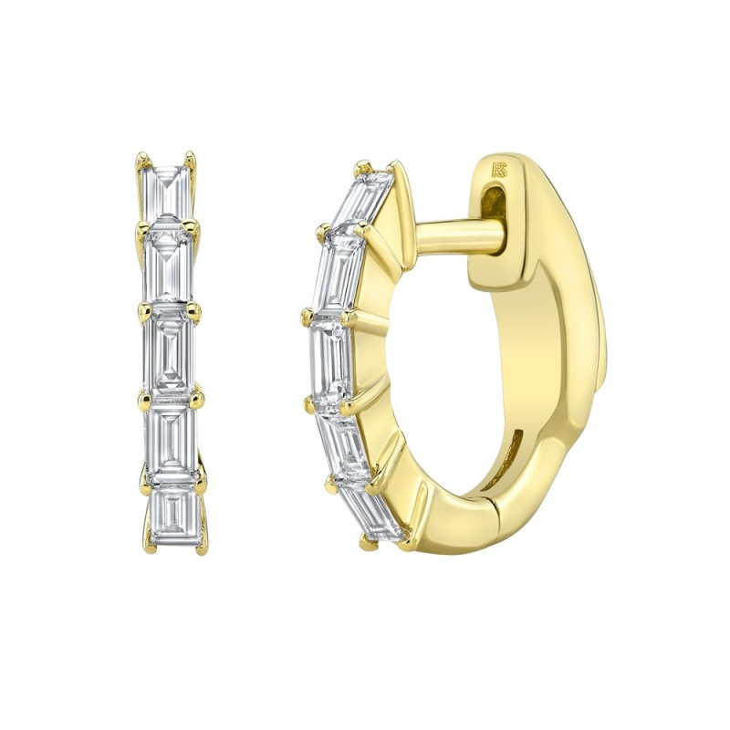 14k Yellow Gold Diamond Baguette Huggie Hoops with Security Latch