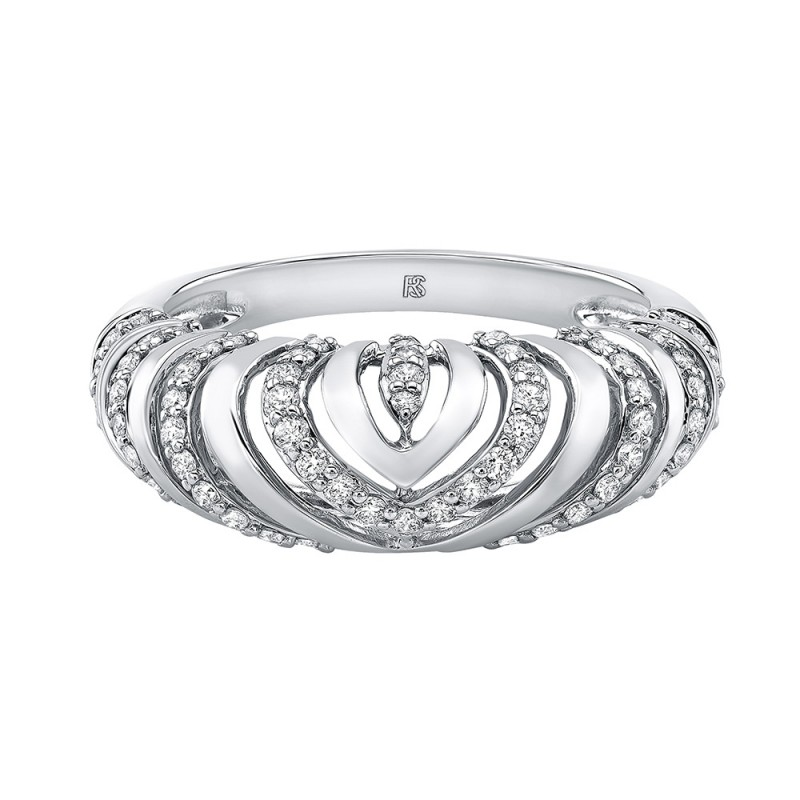 14k White Gold Diamond Chevron Mini Dome Ring