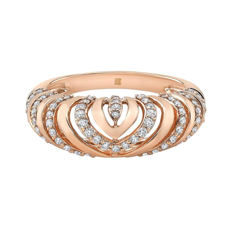 14k Rose Gold Diamond Chevron Mini Dome Ring