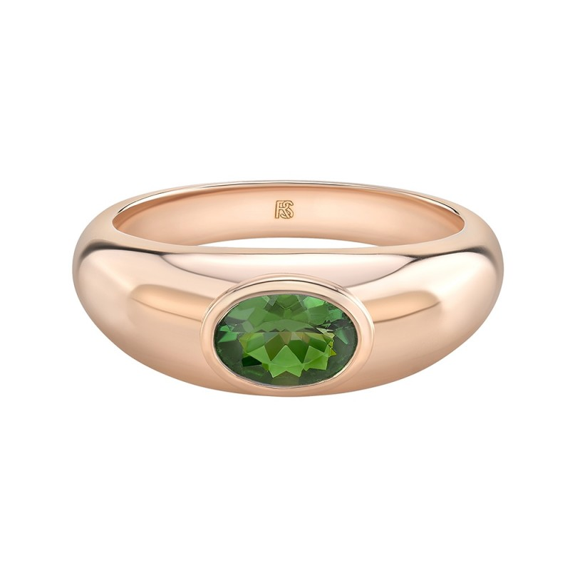14k Rose Gold Bezel Set Green Tourmaline Dome Ring