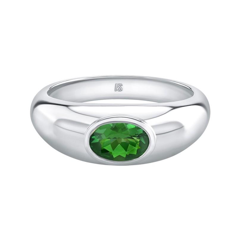 14k White Gold Bezel Set Green Tourmaline Dome Ring